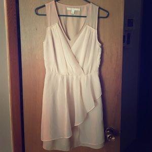 Tan dress with shear pleated overlay